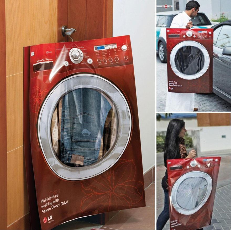 9. Пакет в виде стиральной машины — отличны рекламный ход для прачечных.