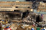 Разрушенный самолётом Пентагон