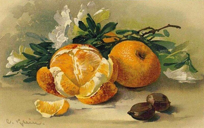 К. Кляйн. 4. Натюрморт с апельсинами и орехами.