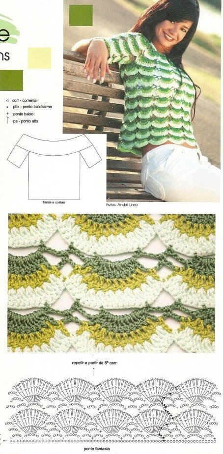 Кофточка из мотивов ракушками крючком - схема вязания
