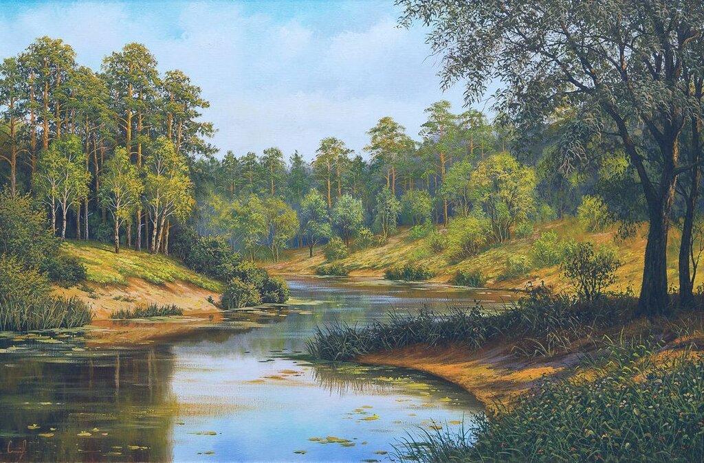 Дмитрий Самоковский. Озеро в лесу.jpg