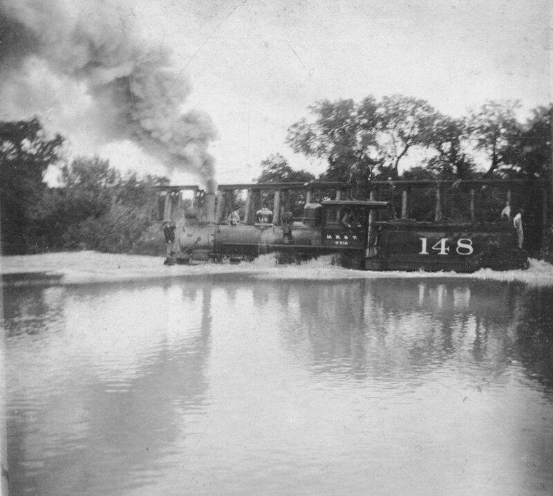 Flood Waters at Train Crossing at Turtle Creek, Texas - Dallas County - Dallas, May 1908