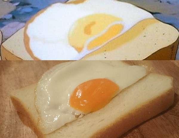 Вот такой простецкий бутерброд с половинкой яйца из мультфильма Хаяо Миядзаки «Небесный замок Лапута