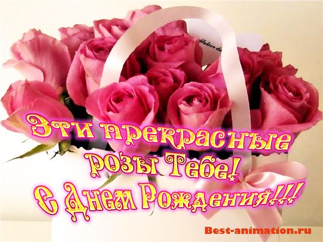 Поздравление на День Рождения - Красивая открытка - Эти прекрасные розы Тебе!