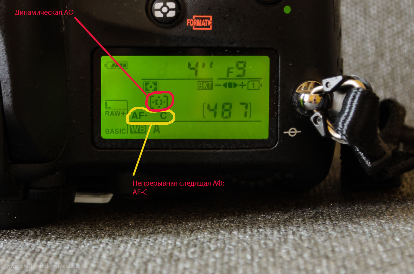 Фото 10. Отображение выбранных режимов автоматической фокусировки на вспомогательном дисплее камеры Nikon D610