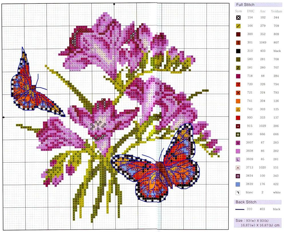 Вышивка лентами схемы цветов.