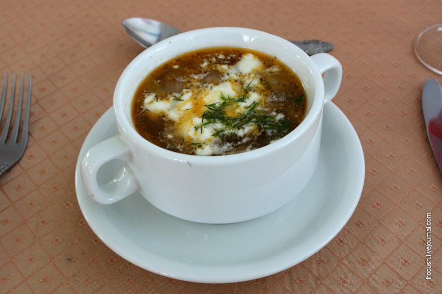 Суп из овощей с говядиной со сметаной