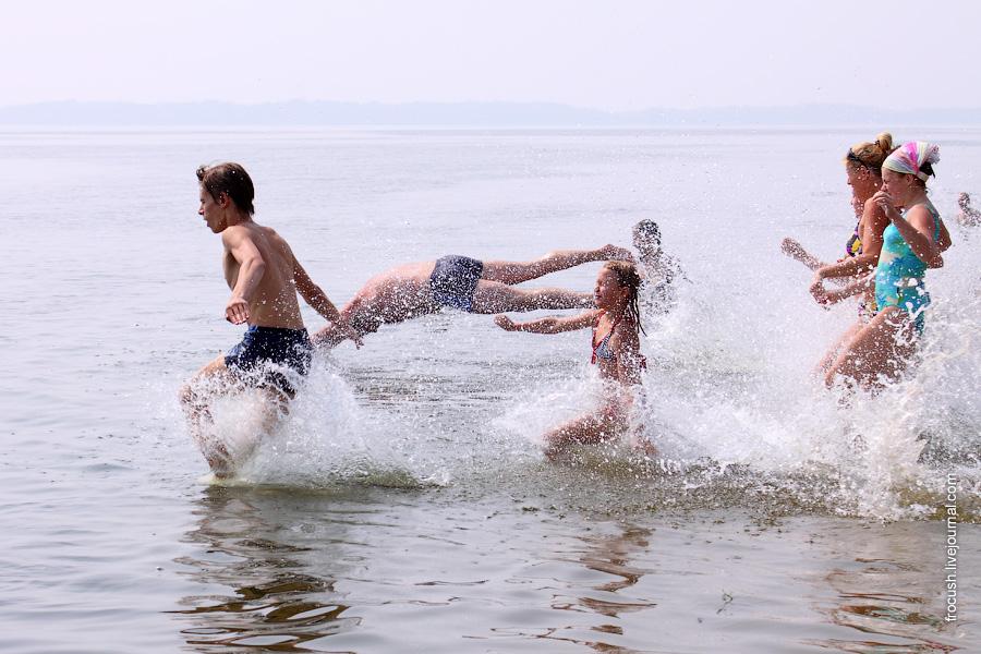 Забег с нырянием в воду
