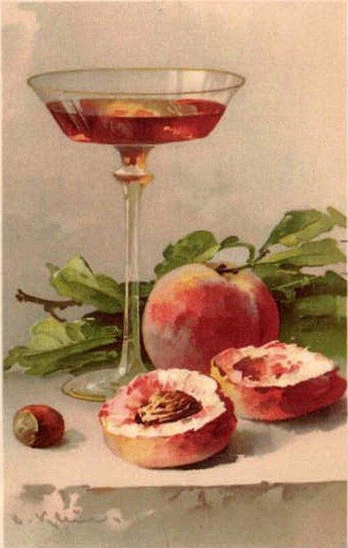 К. Кляйн.  32. Натюрморт.                Бокал, персики и орех.