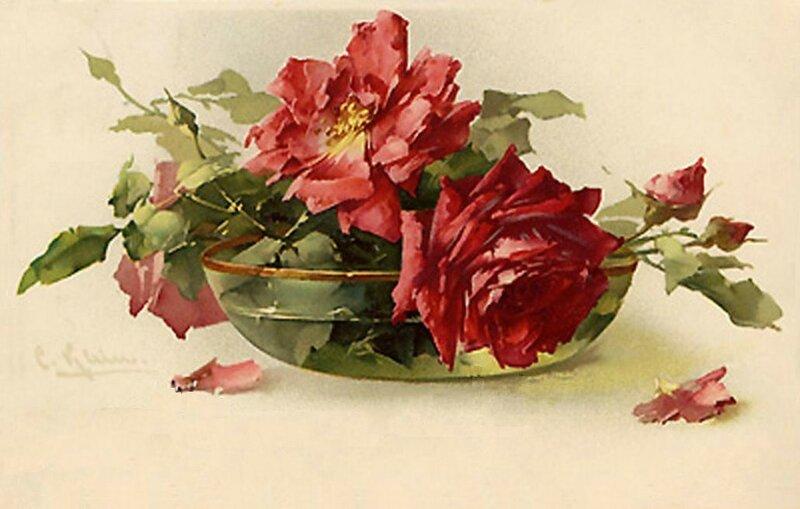 К. Кляйн. 141.       Розы в стеклянной вазочке.
