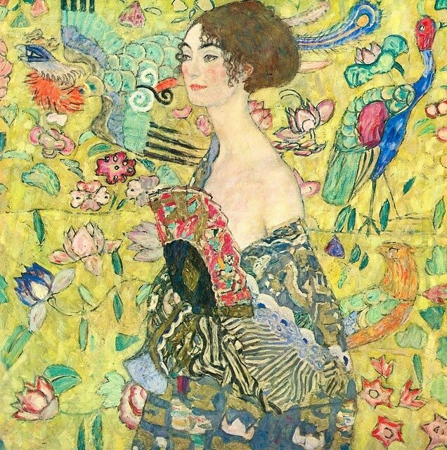 Lady with with Fan, by Klimt