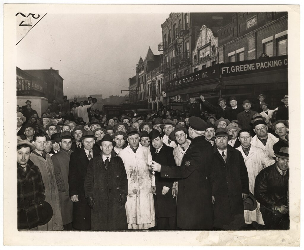 "Weegee ""Retail butchers lined"""