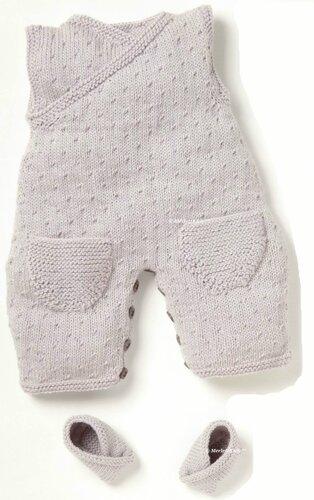вязание спицами для детей комбинезон и пинетки для новорожденных