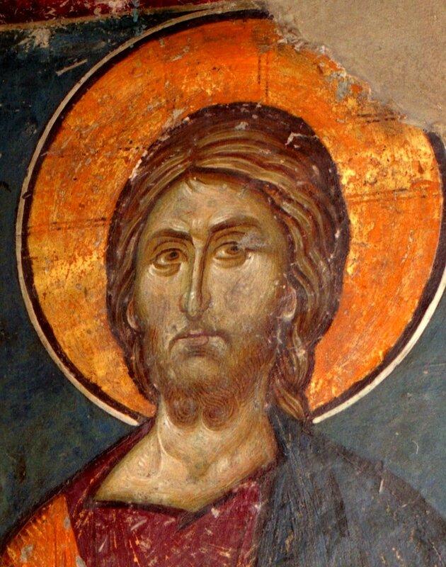 Лик Спасителя. Фрагмент византийской фрески XIV века в церкви Св. Николая в Фессалониках, Греция.