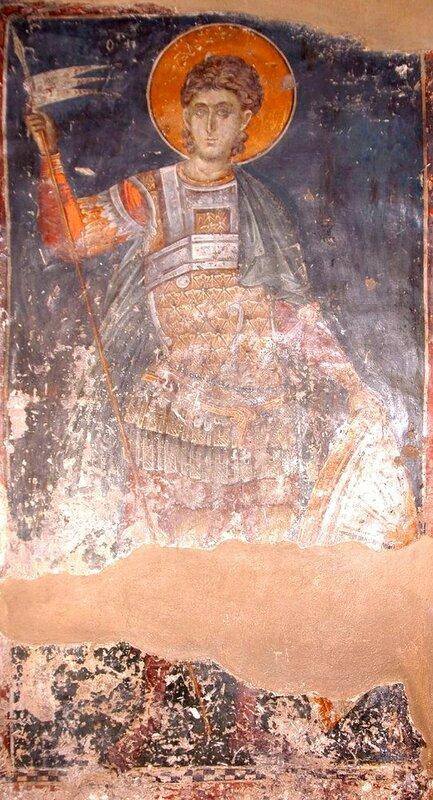 Святой воин. Фреска церкви Св. Николая Орфаноса в Салониках, Греция. XIV век.