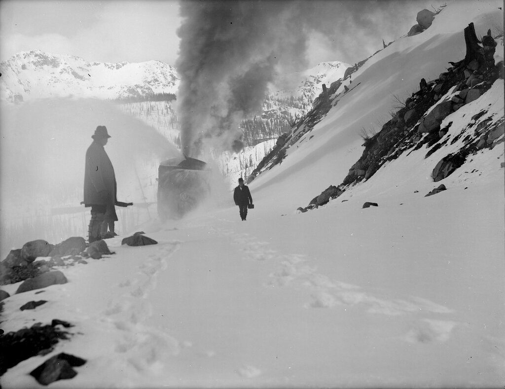 Colorado Midland Railroad Company's rotary car on Hagerman pass in Pitkin County, Colorado, between 1890 and 1910