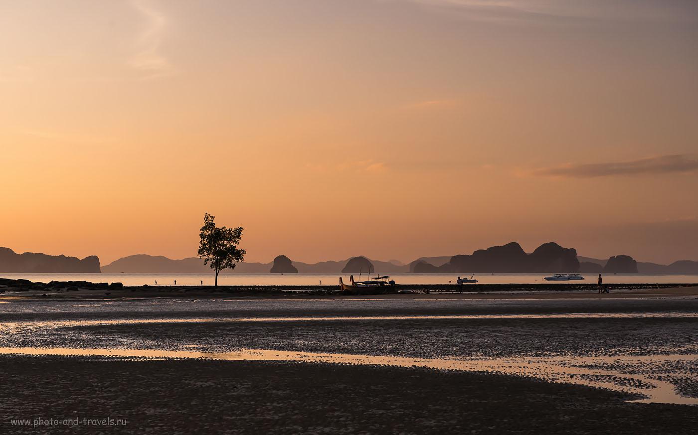 Фото 15. К вечеру на пляже Клонг Муанг (или Клонг Мыанг, Klong Muang Beach) начался отлив и вся красота исчезла... Отдых в Таиланде в феврале
