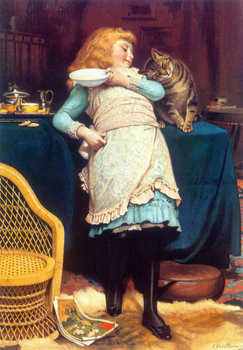 Я возьму себе котенка, накормлю его сгущенкой. Английский живописец Charles Burton Barber (1845-1894)