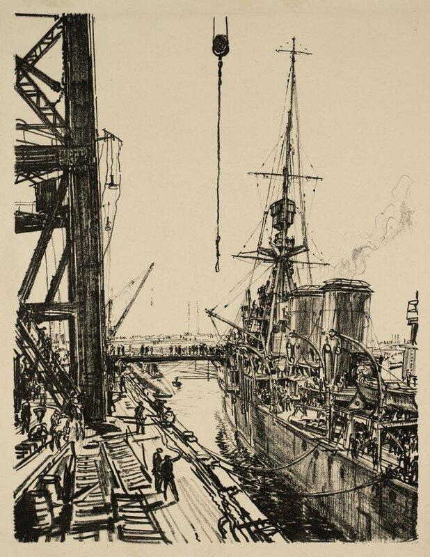 Building Ships: Ready for Sea circa 1917 by Sir Muirhead Bone 1876-1953