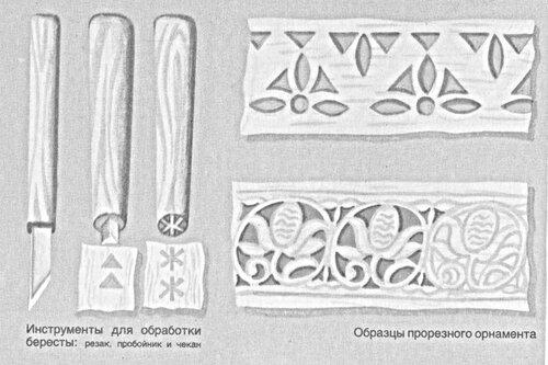 Образцы инструмента для работы с берестой и варианты узора