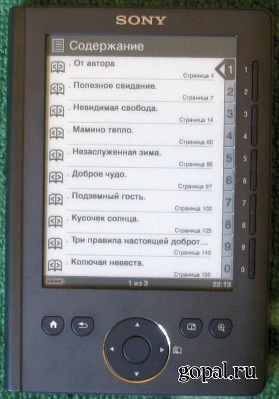Содержание книги в Sony Reader PRS-300 Pocket Edition