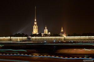 Динамика и статика питерской ночи (Нева, ночь, Петербург, Петропавловская крепость)
