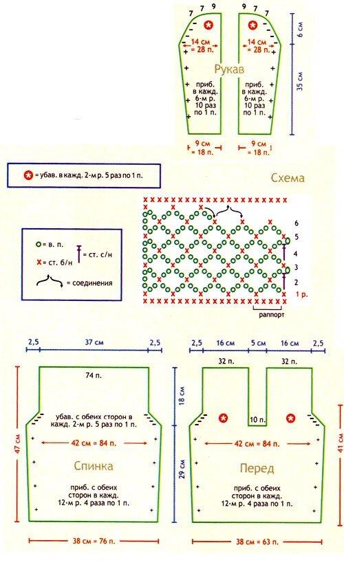 Схема и выкройка пуловера спицами и крючком