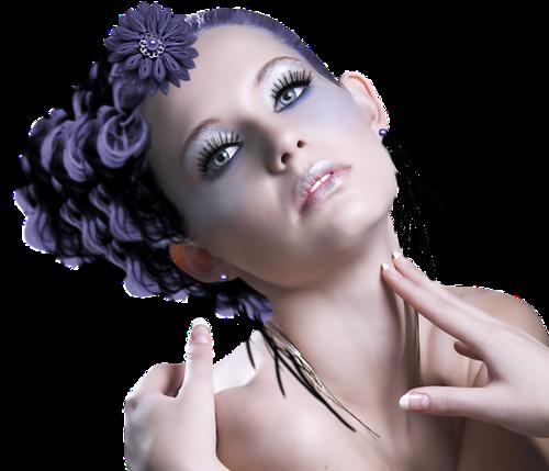 девушка с синими волосами