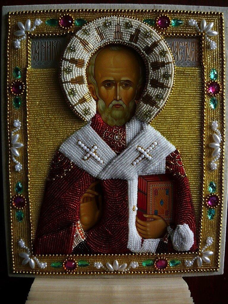 Икона Св. Николай Чудотворец. рукоделие. умелые ручки.  Православие. икона. вышивка бисером.