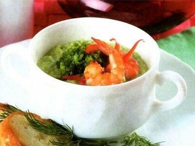 Суп пюре из брокколи с креветками