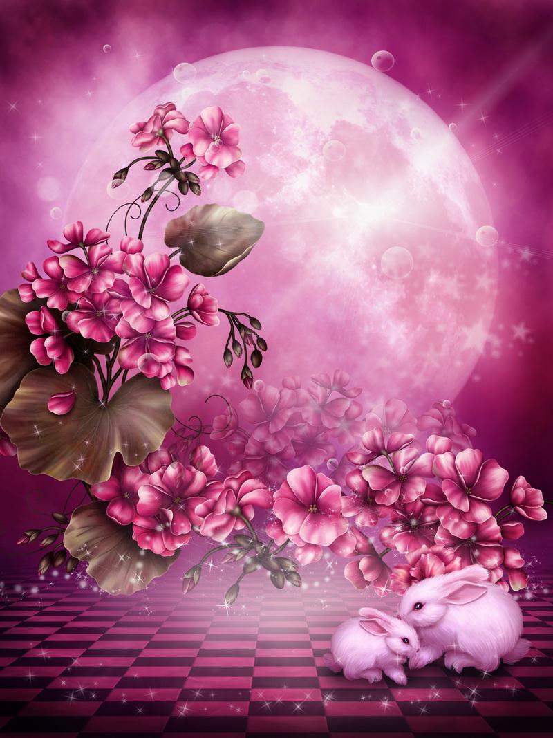 Rу?owe t?o z kwiatami geranium i krуliczkami
