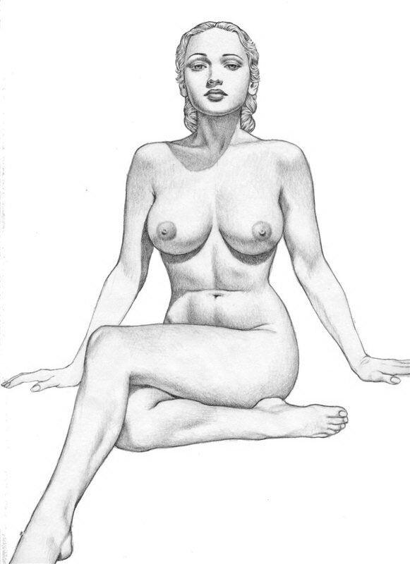 Рисунок карандашом голая девушка