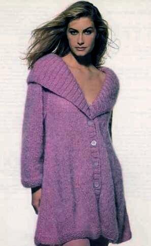 Вязание пальто спицами с описанием