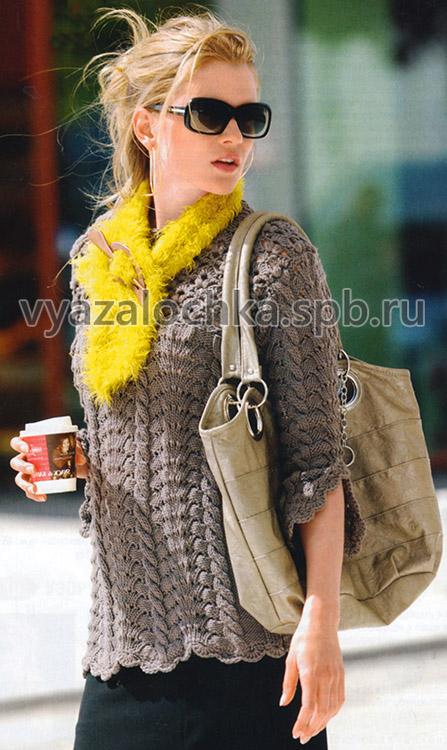 Узорчатый пуловер с кружевной кокеткой и шарф
