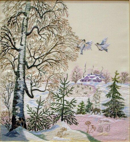 Вышивание натюрморта и пейзажа