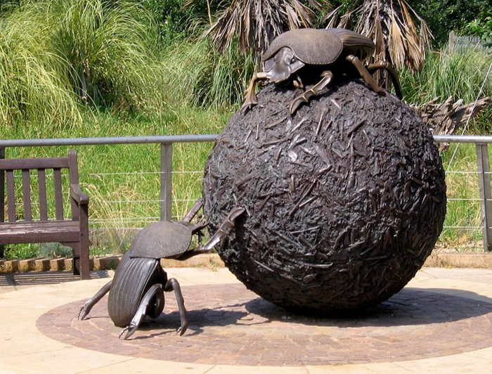 Giant dung beetle statue