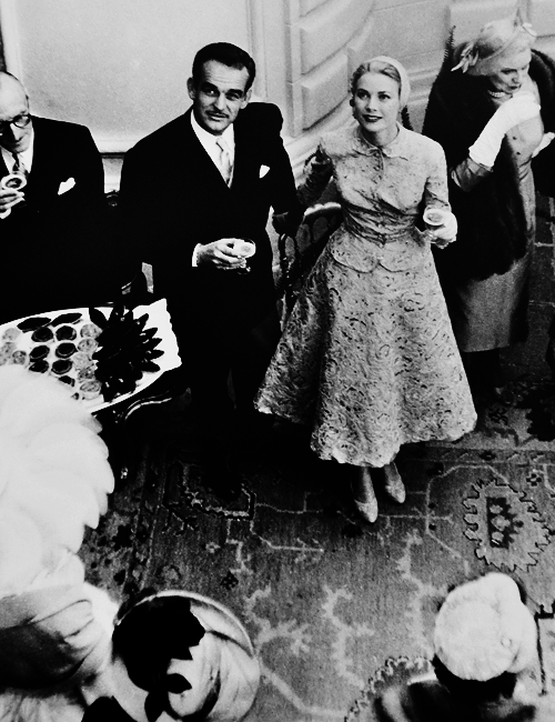Prince Rainier and Grace Kelly at their wedding reception, Monaco, 1956.---.png