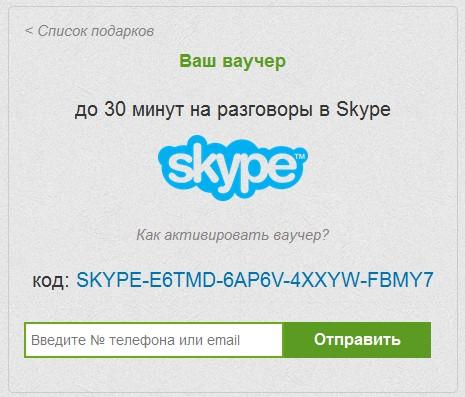 30 минут на разговоры в Skype