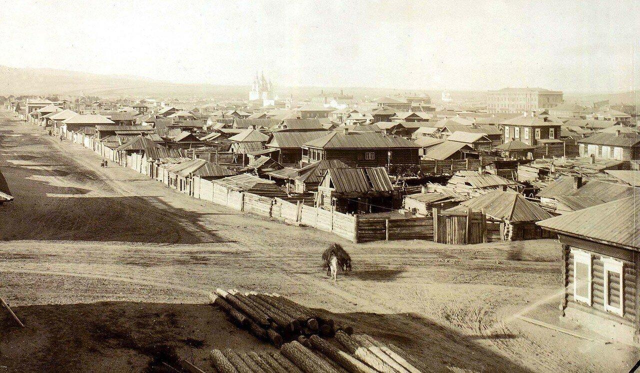 Панорама с перекрёстком двух улиц Песочной и Гимназического переулка. Конец 1870- х