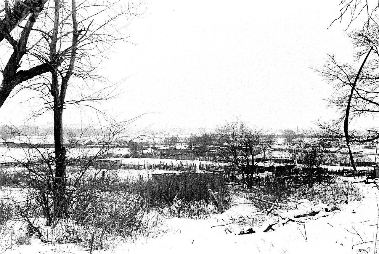 1981. Вид с улицы Нижней на деревенские огороды