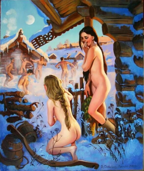 фото обнаженных девушек на фоне бани