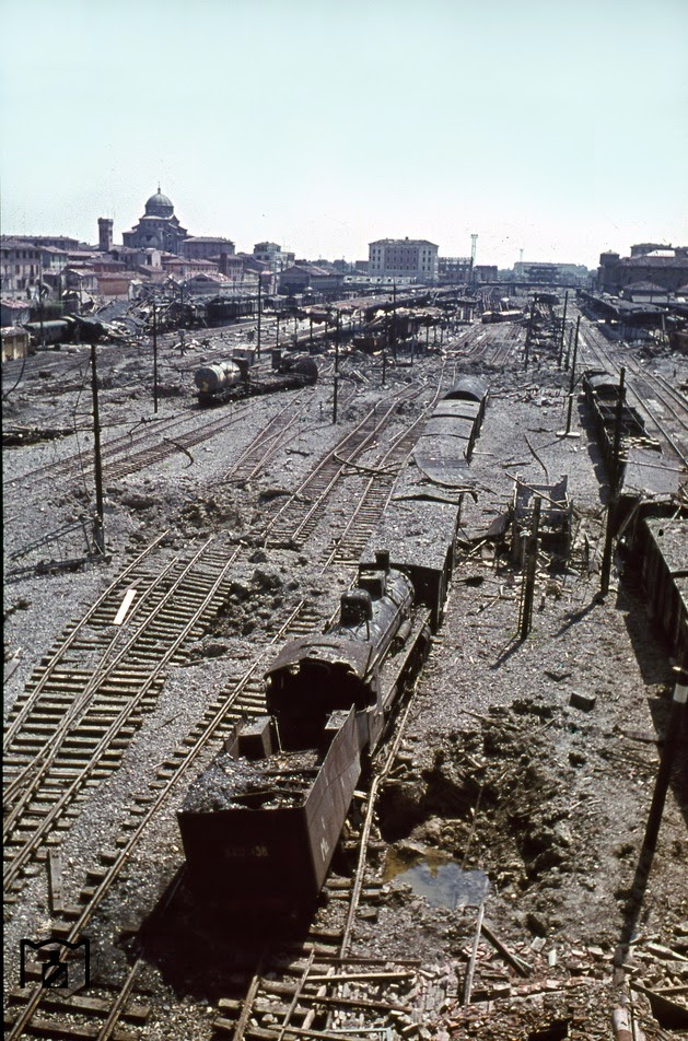The elevated position clarifies the extent of the destruction in the main station of the Tuscan capital Florence.jpg
