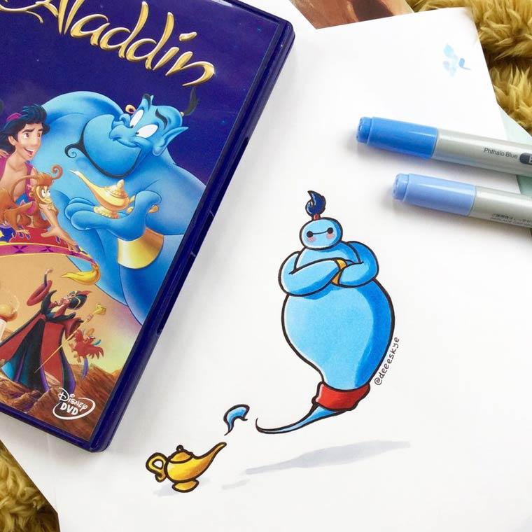 Quand Baymax rencontre les autres personnages celebres de Disney