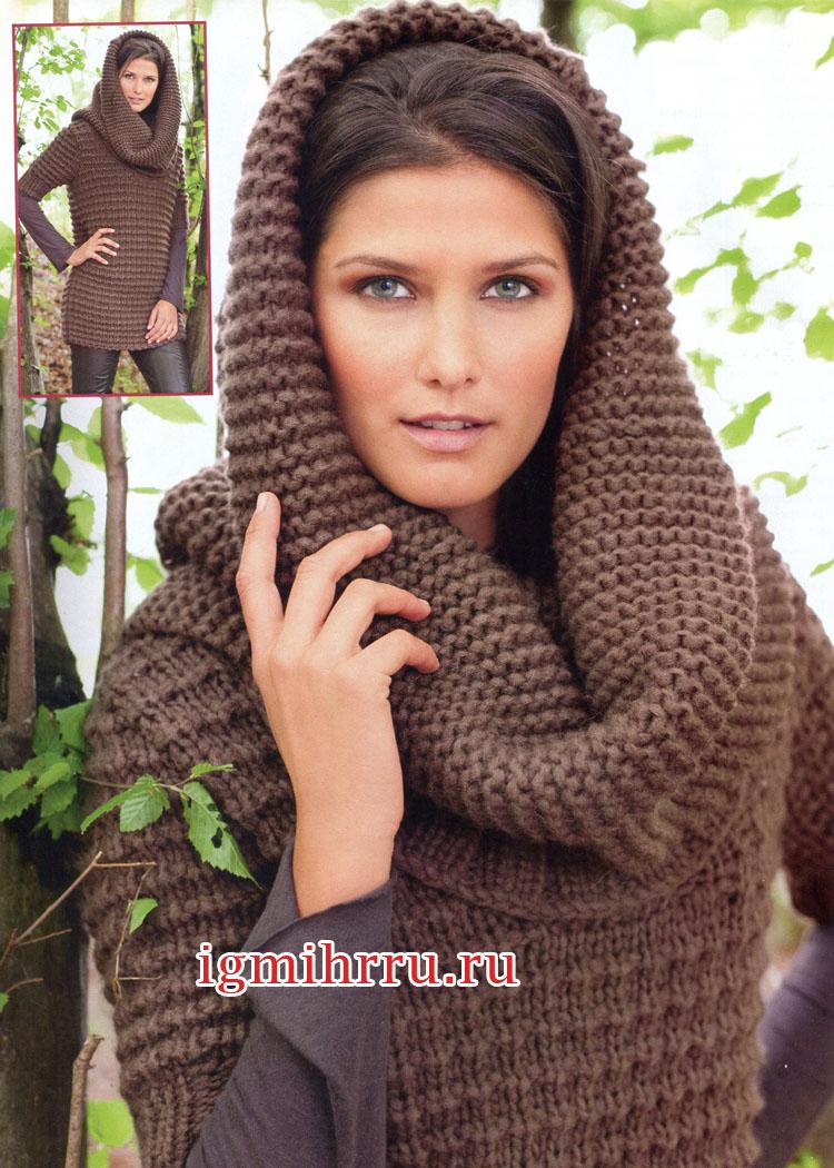 Длинный коричневый пуловер и шарф-капюшон. Вязание спицами