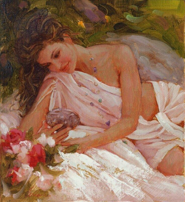 Аромат цветов живых, самых нежных, дорогих, что любимый утром дарит, окрыляет и дурманит... Художник Mark Arian