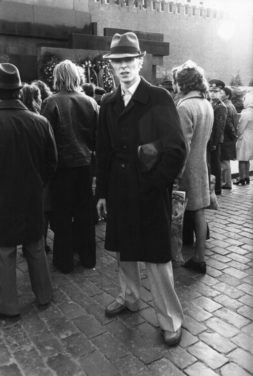 DAVID BOWIE ON LOCATION IN MOSCOW WHILST ON TOUR. CIRCA LATE 70'S.