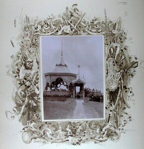 Император Николай II и сопровождающие его военные чины в павильоне на Центральном форту; слева от императора- великий князь Михаил Николаевич.