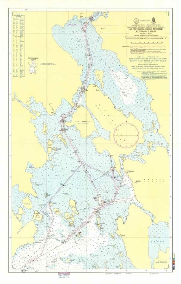 Карта Подходный фарватер Сайменского канала