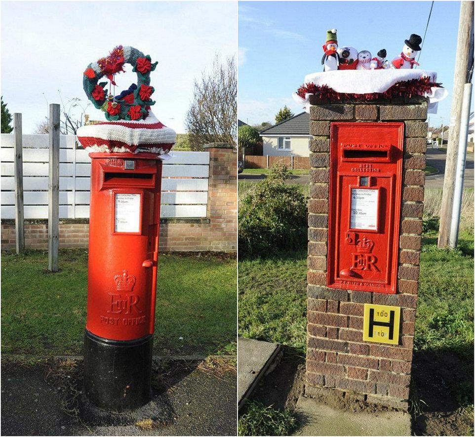 Вязаные украшения почтовых ящиков в Великобритании