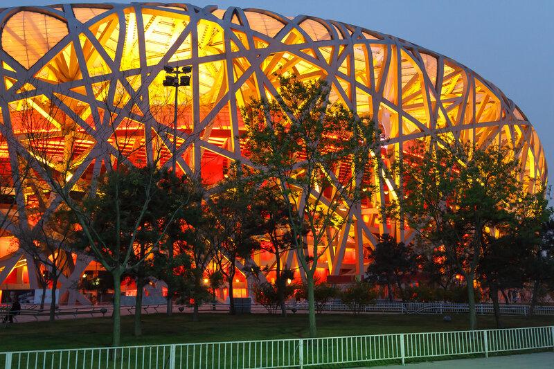 Вечерняя подсветка, Птичье гнездо, Олимпийский парк, Пекин
